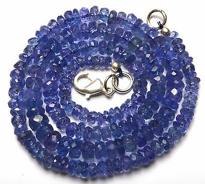 Natural Gem Top Quality Tanzanite Faceted 4 to 6MM Rondelle Bead Necklace 16""