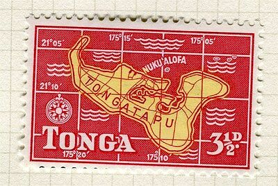 TONGA;  1953 early Queen Salote issue fine Mint hinged 3.5d. value