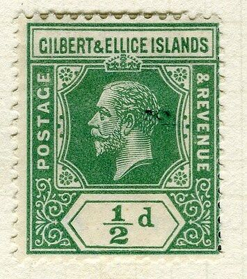 GILBERT ELLICE ISLANDS;   1912 early GV issue fine Mint hinged 1/2d. value, Shad