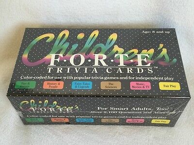Vtg.1985 Children's Forte Trivia Cards, For Smart Adults too!, Sealed NIB  C4