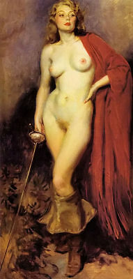 Hand-painted Portrait Oil Painting Wall Art on Canvas,NUDE WOMAN HOLDING SWORD