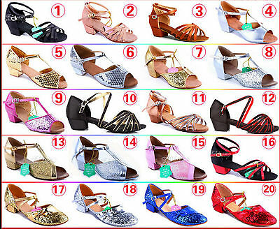 2016 Girl Kid Child Lot Latin Shoes Fashion Party Bow Soft Buckle Dance Shoes B