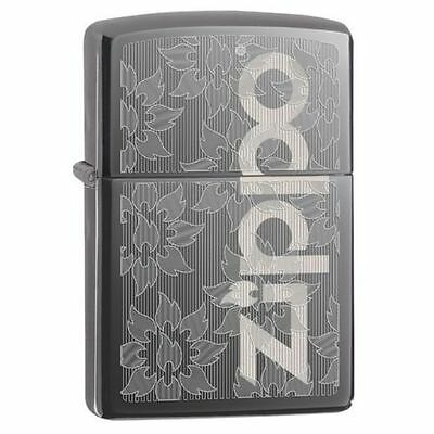 Zippo Windproof Black Ice Lighter With Zippo Logo and Flames, 29241, New In Box