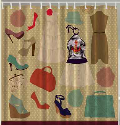 Glamour Diva SHOWER CURTAIN Retro Chic Fashion Style Vintage Shoes Dress Women