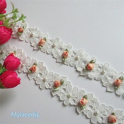 1 Yard Embroidered Flower Pearl Lace Edge Trim Ribbon Applique Sewing Craft DIY