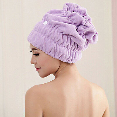 New Lady Microfiber Dry Hair Hat Elastic Lace Shower Cap Super Absorbent Turban