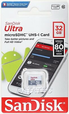 SanDisk 32 GB Ultra micro SD SDHC class 10 TF memory card 80MB UHS-I 32G extreme