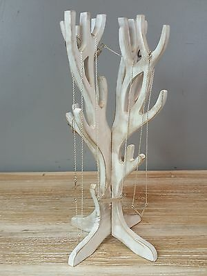 Ornamental Hand Carved Jewellery Display Tree Holder Stand Nature Wood Whitewash