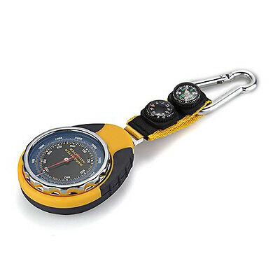 4in1 Compass Barometer Thermometer With Carabiner Camping Hiking Pocket