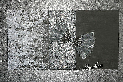 Luxury crushed velvet with Silver glitter wall art,picture. Unique decor.