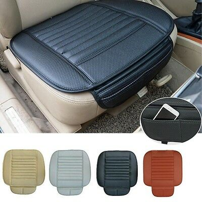 Car Front Seats PU Leather Cover Bamboo Slip Bucket Seat Protector Mat Cushion