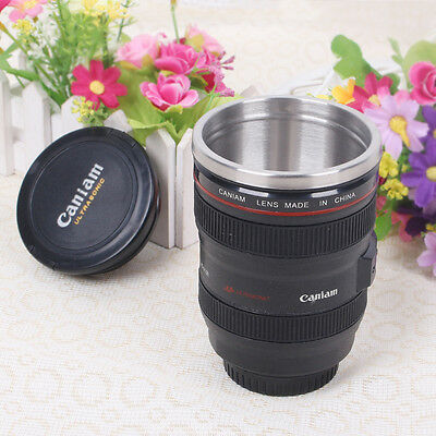 Camera Lens Stainless Steel Cup Coffee Tea Travel Mug Thermos & Lens Lid Black