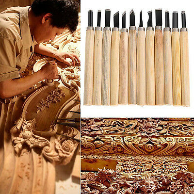 12Pcs Gouges Wood Carving Hand Chisel Woodworking Tool Set Woodworkers
