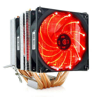 Dual Fan Cooler Radiator LED CPU Cooler 6 Heat Pipes For All AMD CPUS