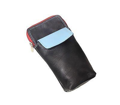 High Quality Soft Leather Spectacle / Glasses Case Holder - BLACK/BLUE