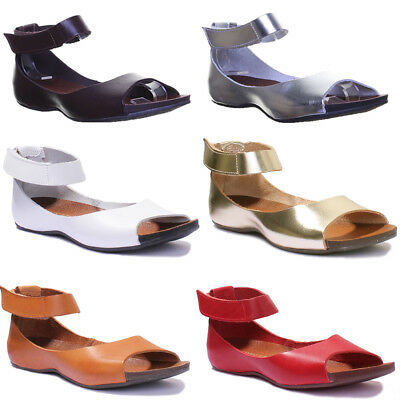 Justin Reece Womens Ladies Leather Ankle Strap Open Toe Sandal Size UK 3 - 8