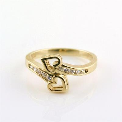 Double Heart Ring 10K Solid Yellow Gold