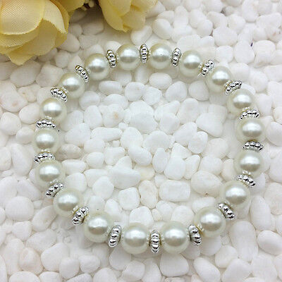 NEW Wholesale Fashion Jewelry 8mm Pearl White Water Pearl Beads Stretch Bracelet
