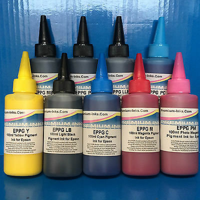 900ml PIGMENT PRINTER INK REFILL BOTTLES FITS EPSON STYLUS PHOTO R2400 R 2400