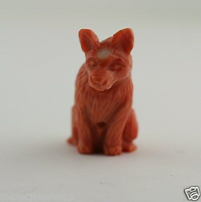 Natural Salmon Pink Coral Carved Dog Lucky Charm Pendant Figurine Figure Amulet