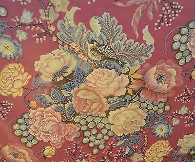 Beautiful Vintage Magenta Chintz Fabric With Flowers And Birds Ss207