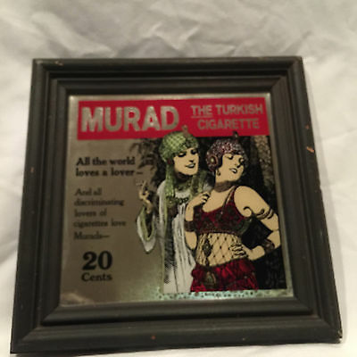 Collectible Vintage 1970's MURAD Turkish Cigarette Mirror Ad In Wooden Frame