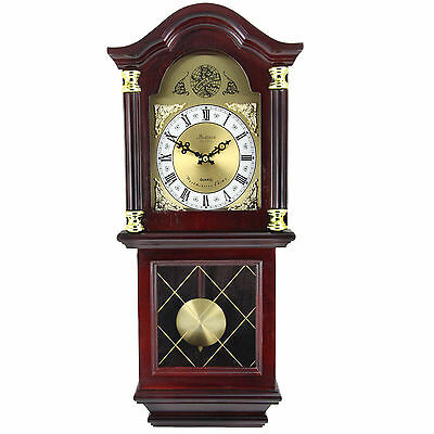 "Bedford Clock Collection 26"" Antique Mahogany Cherry Oak Chiming Wall Clock"