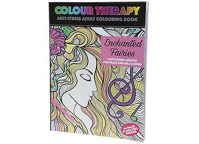 Adult Colouring Colour Therapy Anti Stress 64 Page A4 Book Enchanted Fairies