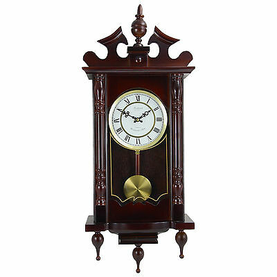 "Bedford Clock Collection Classic 31"" Chiming Wall Clock With Cherry Oak Finish"