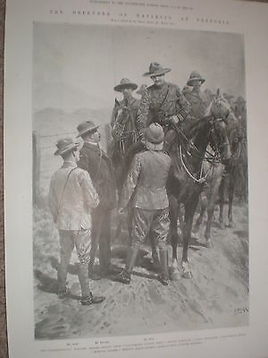 General Baden-Powell meets journalists Boer War South Africa 1900 old print