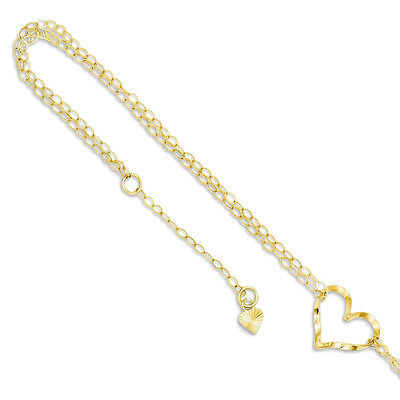 "14k Yellow Gold Double Chain Heart Station Anklet Ankle Bracelet, 9"" + 1"" Ext"