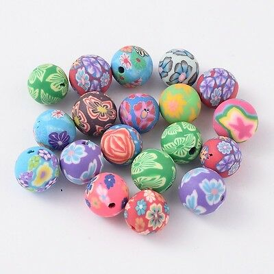 50 pcs Handmade Polymer Clay Beads Mixed Colour Round 10mm Jewellery Making