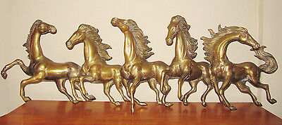 Vintage Large Brass Galloping Horse Frieze Figurine - ~ Four Feet Long