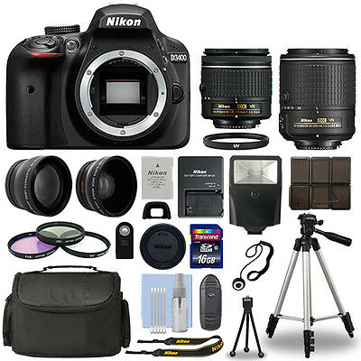 Nikon D3400 Digital SLR Camera + 16GB Multi Lens Bundle: 18-55mm + 55-200mm VRII