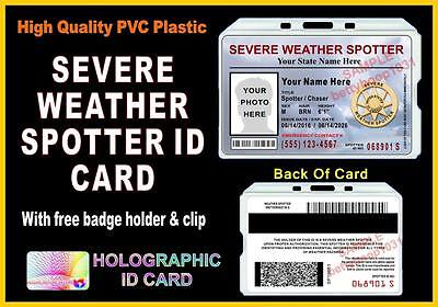 Weather Spotter / Storm Chaser ID Card - Custom w/ Your Photo & Info - Skywarn