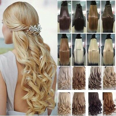 Premium Deluxe Quality Clip In Hair Extensions One Piece Half Full Head Curly MM