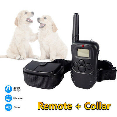 300M LCD Anti-Bark Stop Barking Vibration Dogs Pet Training Remote Collar AU