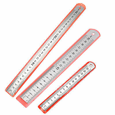 Stationery -15cm/20cm/30cm Stainless Steel Ruler Double-Sided MM CM INCH Ruler