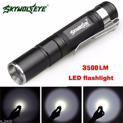Waterproof 3500LM Pocket LED Flashlight 3 Modes Zoomable LED Torch Mini Penlight
