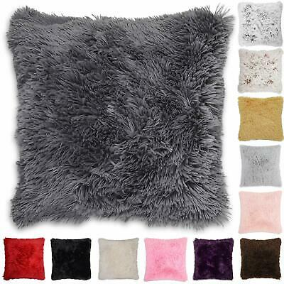 4 x Faux Fur Cushion Cover Covers Shaggy Super Soft Cuddly 43x43cm in 6 Colours