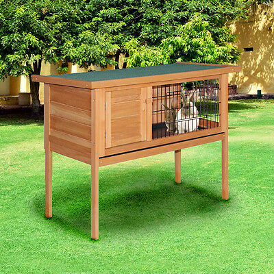 Rabbit Hutch Chicken Coop Cage Guinea Pig Ferret Chook Hen House w/ Hinged Lid