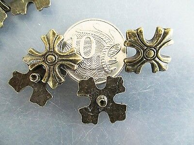 Decorative Rivets Patonce Cross Capped Antique Brass 20x20mm Qty 10