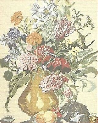 """Tapestry Canvas Needlepoint Floral With Fruit DMC 14.75x19.5"""" (37.5x 51cm)"""