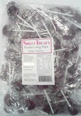 Flat Purple Grape Flavour Lollipops 1kg (Approx. 125 Lollipops)