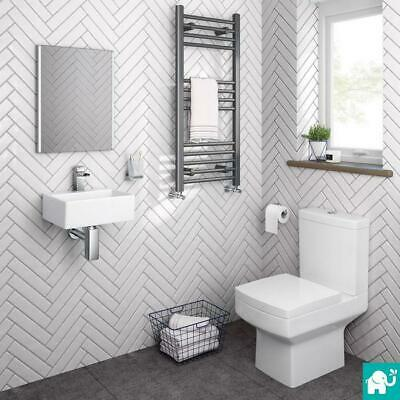 Complete Compact Bathroom Suite With Cloakroom Basin And Square Toilet BS899