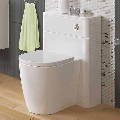 Toilet WC Back to Wall Bathroom Concealed Cistern Ceramic Soft Close Seat BS922