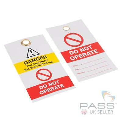 Lockout Tagout Tags - 'Do Not Operate' - Red / White - Pack of 10