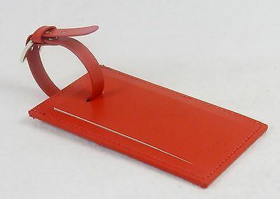 Red Leather Luggage Tag ~ Leeman Ilani Cowhide, Buckle Strap #9093