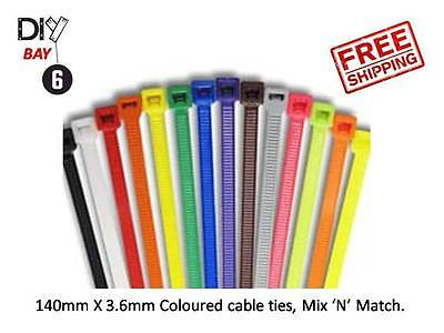 Cable Ties, 140mm x 3.6mm Pick your colour, MIX & MATCH Available, UK Seller