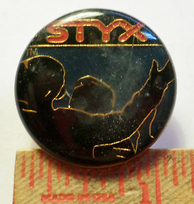 Vintage 70s Styx pin metal Rock band music collectible pinback button